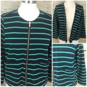 Lands' End sz 14  Zip Jersey Jacket Blazer Stripe